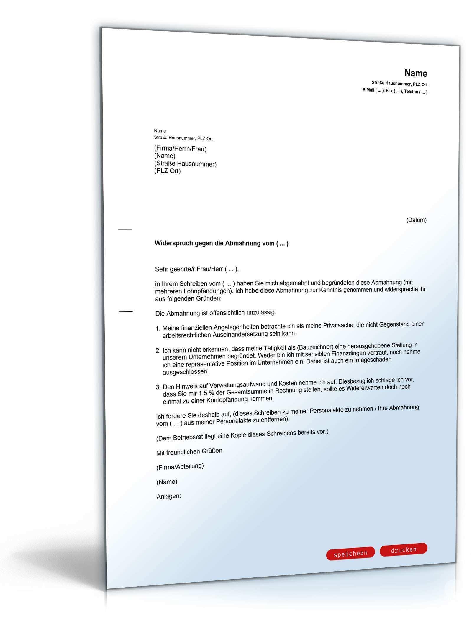Gegendarstellung Abmahnung Wiederholte Lohnpfandungen Vorlage Zum Download