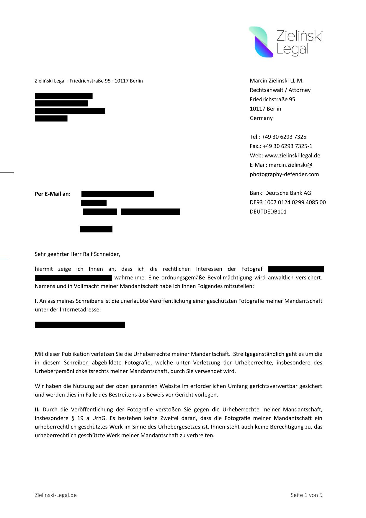 Abmahnung Von Zielinski Legal Erhalten Kostenfreie Erstberatung Mueller Legal Rechtsanwalte