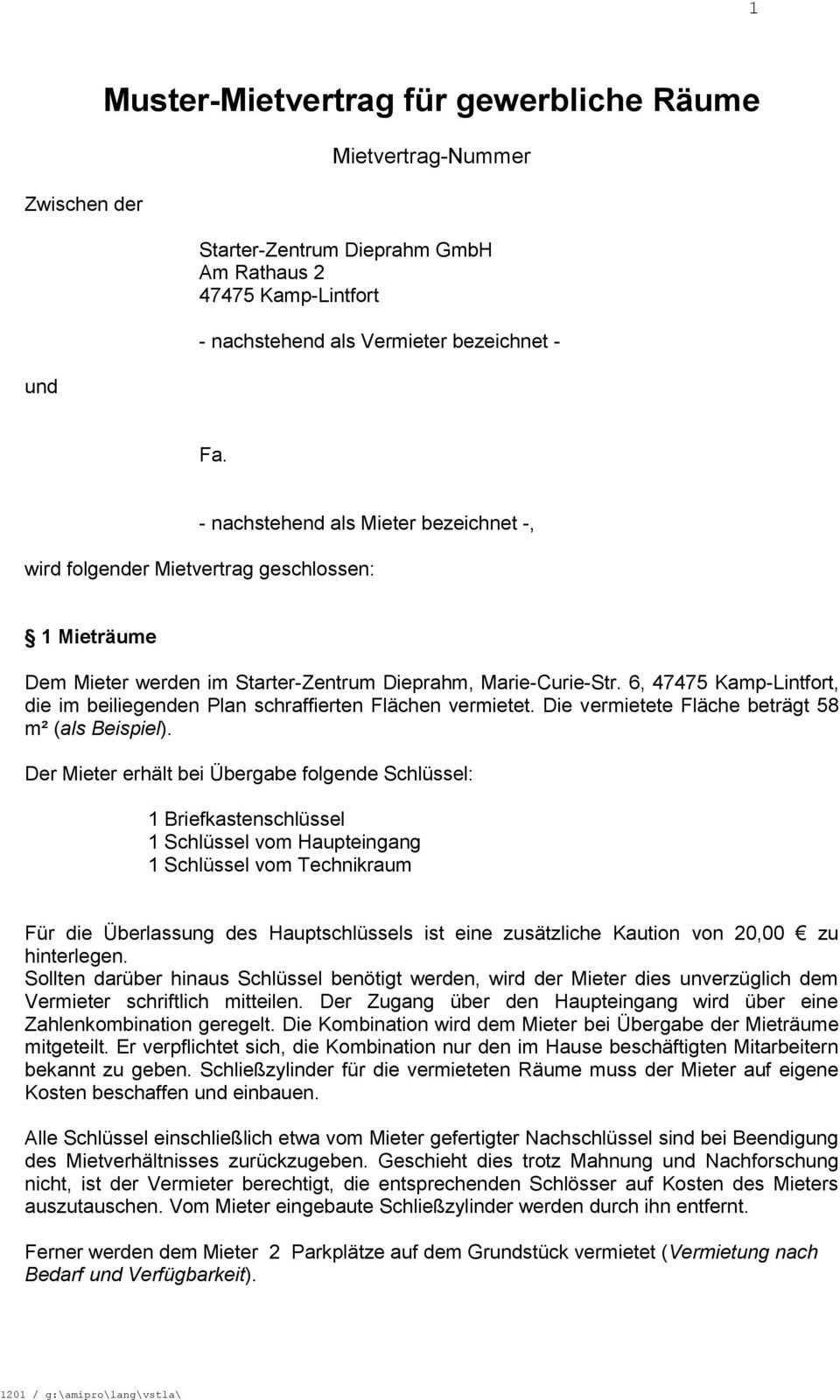 Muster Mietvertrag Fur Gewerbliche Raume Pdf Kostenfreier Download
