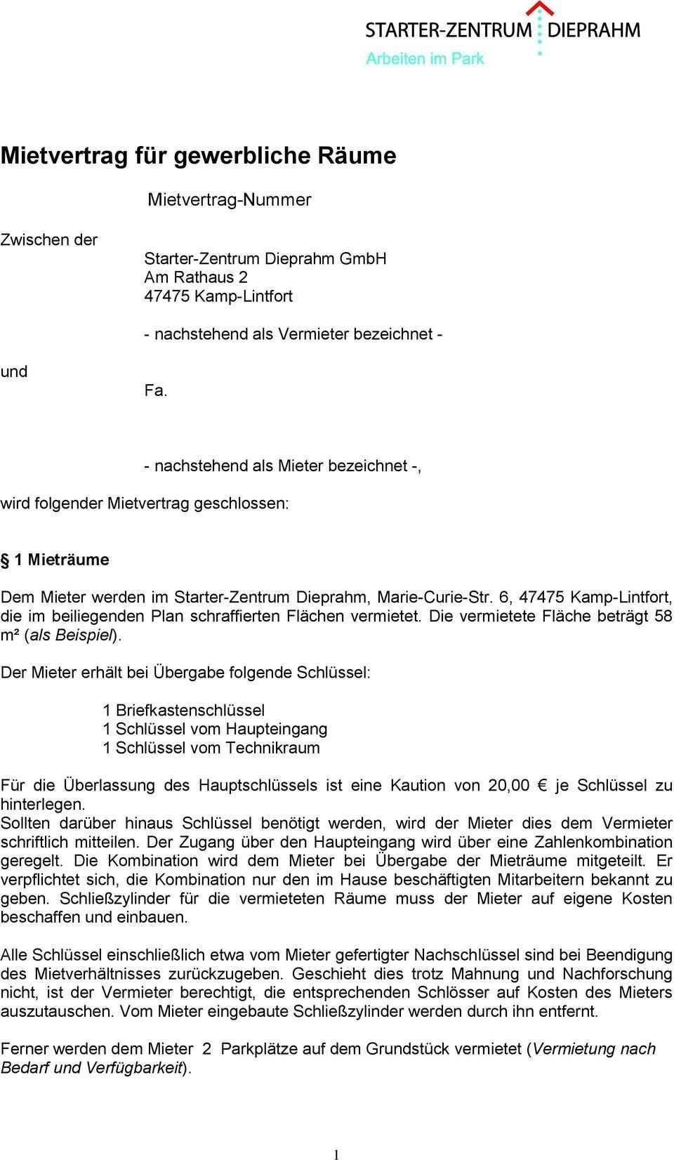 Mietvertrag Fur Gewerbliche Raume Pdf Kostenfreier Download