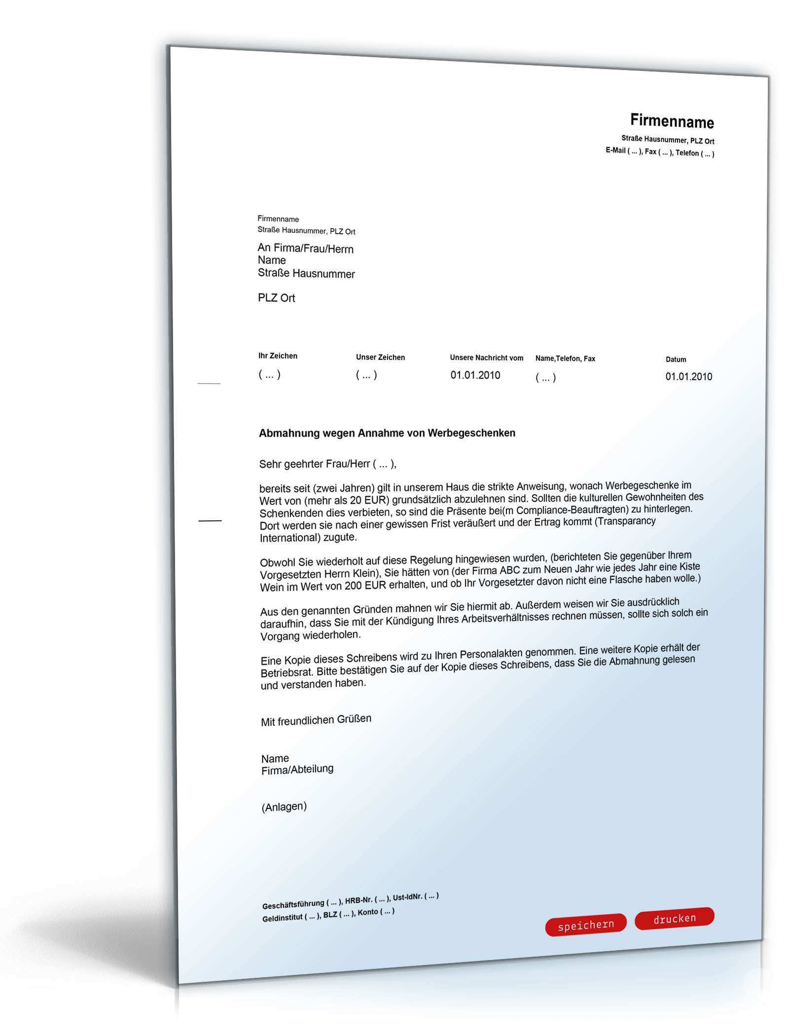 Abmahnung Annahme Von Werbegeschenken Vorlage Zum Download