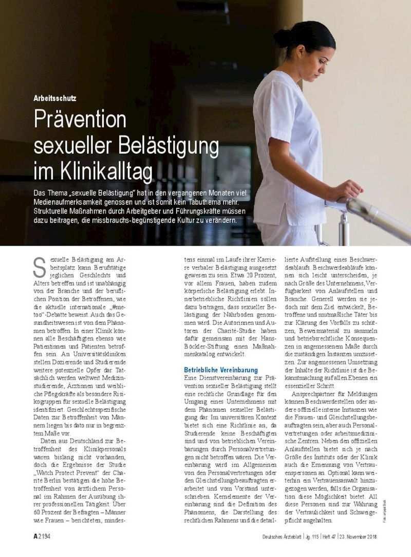 Arbeitsschutz Pravention Sexueller Belastigung Im Klinikalltag