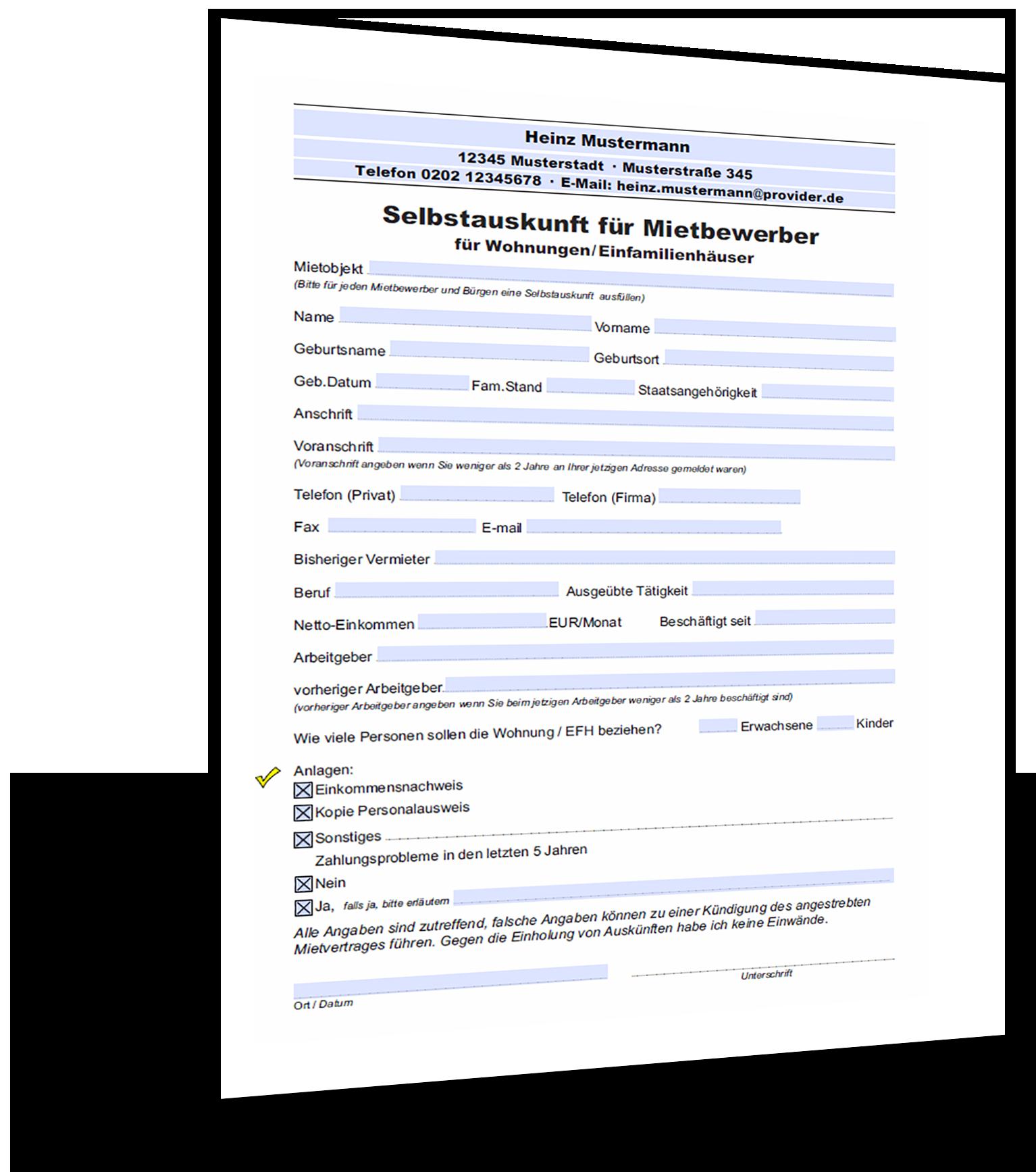 Selbstauskunft Fur Mietbewerber Muster Gratis Download