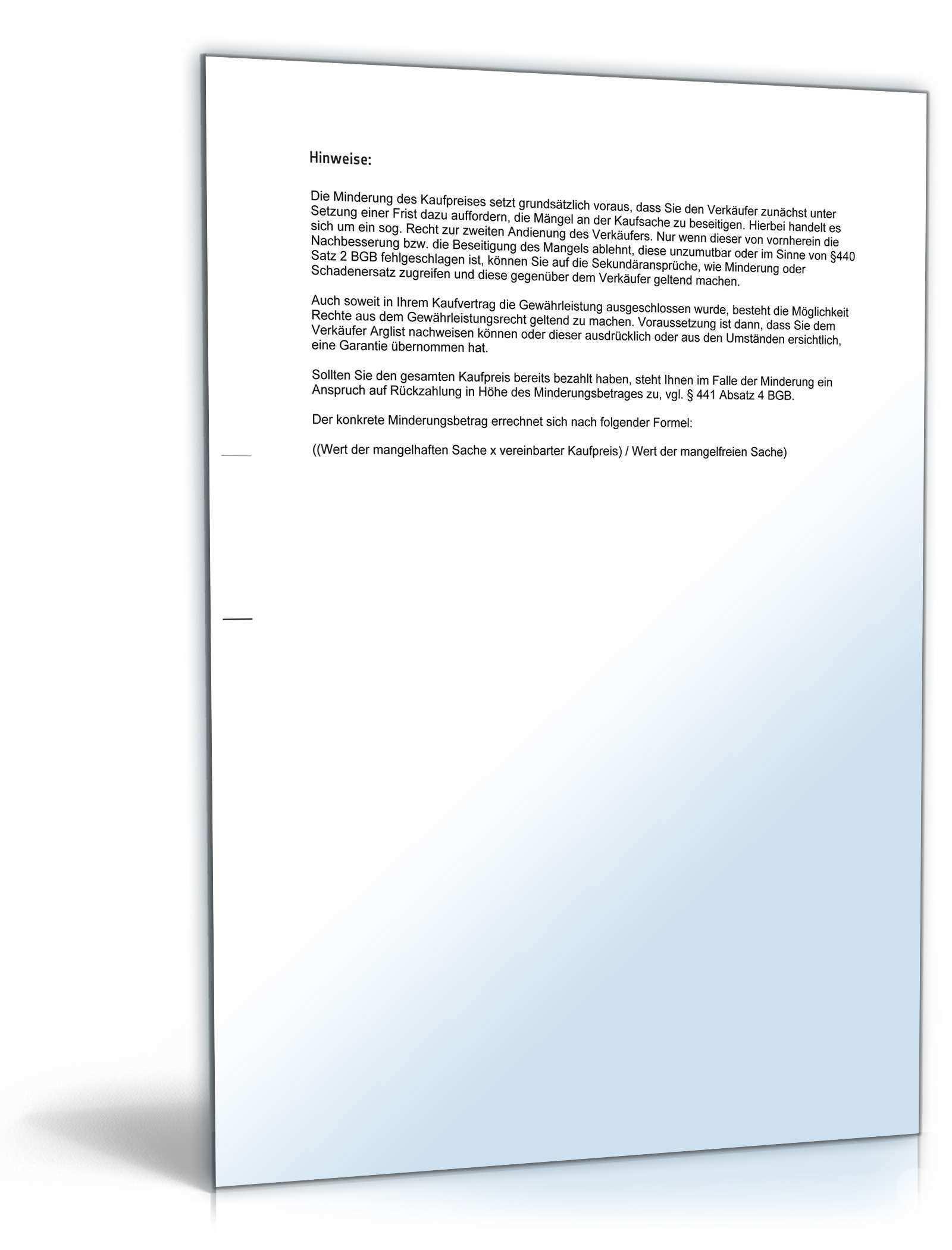 Minderung Gegenuber Verkaufer Muster Vorlage Zum Download