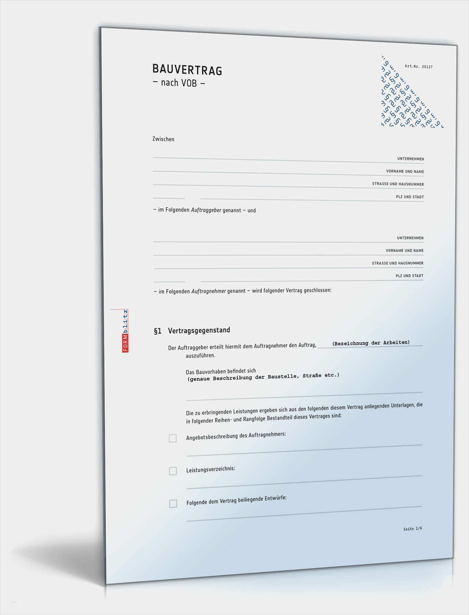 39 Grossartig Vob Bauvertrag Vorlage Ideen Vorlagen Word Businessplan Vorlage Briefkopf Vorlage