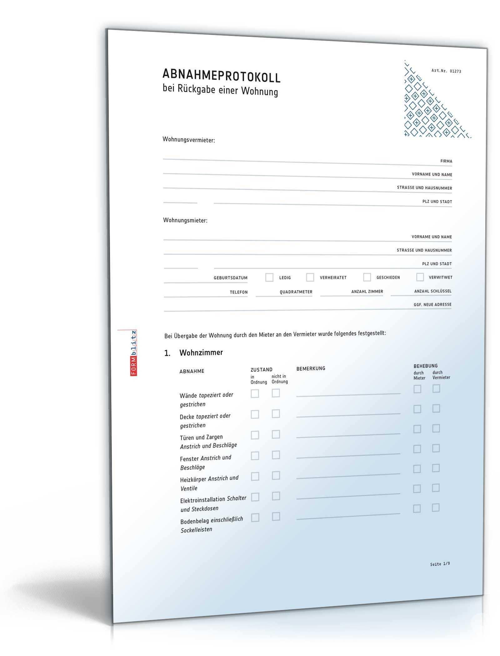 Abnahmeprotokoll Wohnung Bei Auszug Muster Zum Download
