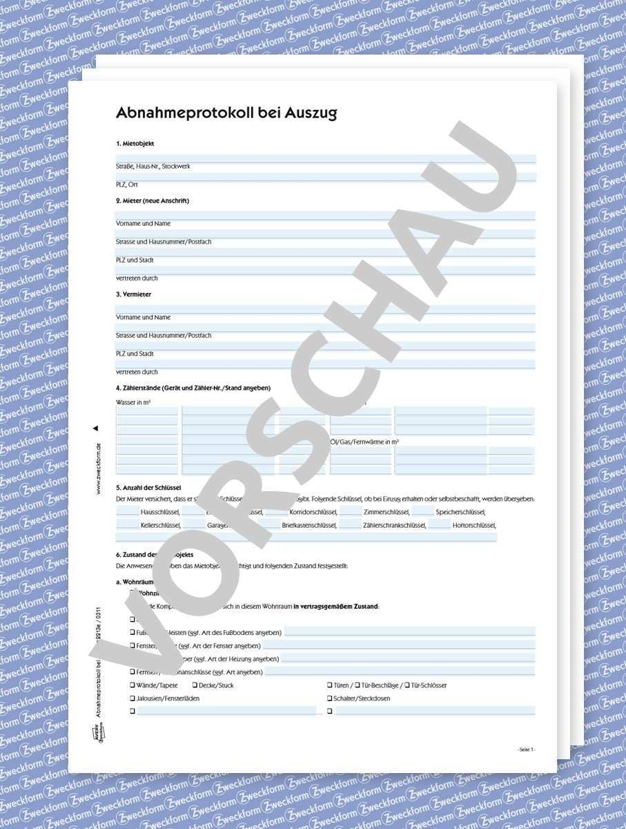 Abnahmeprotokoll Formular Zum Download Zweckform