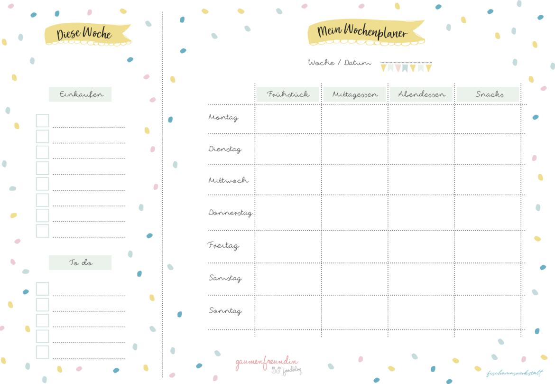 Gratis Wochenplan Vorlage Zum Ausdrucken Fur Den Speiseplan Wochenplan Vorlage Wochen Planer Planer