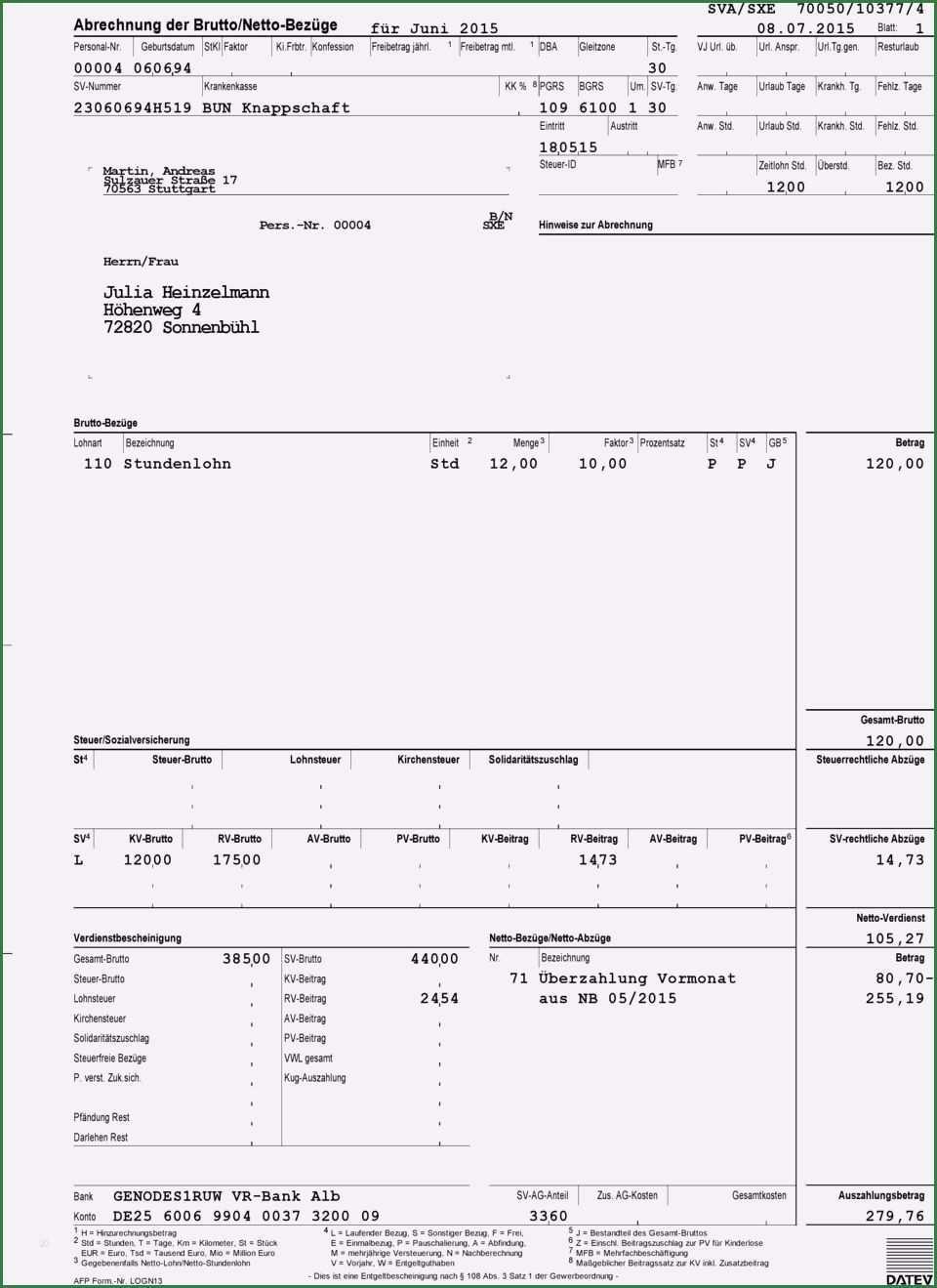 Perfekt Abrechnung Brutto Netto Bezuge Vorlage Fur 2020 Lebenslauf Lebenslauf Layout Briefkopf Vorlage