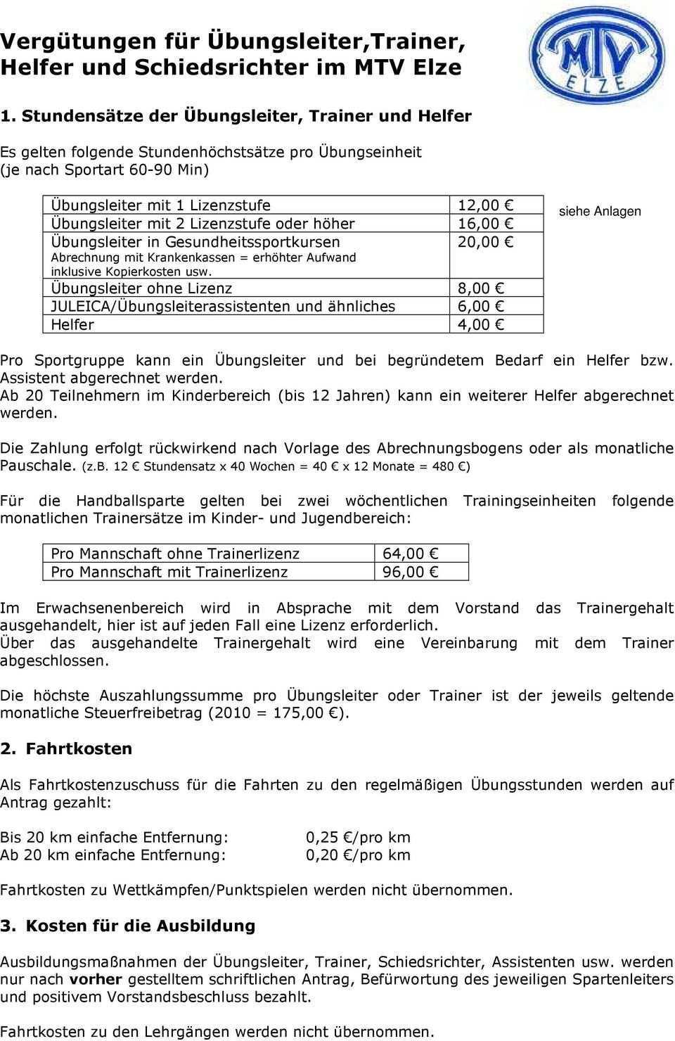 Vergutungen Fur Ubungsleiter Trainer Helfer Und Schiedsrichter Im Mtv Elze Pdf Kostenfreier Download