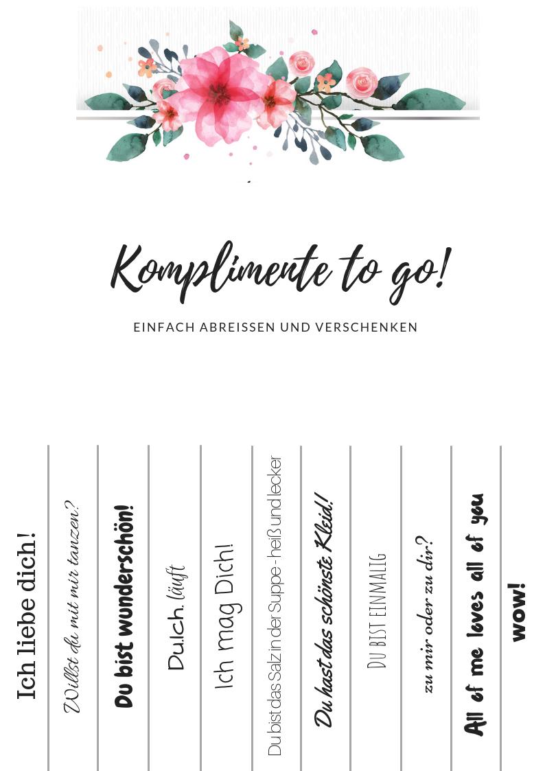 Komplimente To Go Freebies Zum Downloaden Mrs Bridal Komplimente Polterabend Gastgeschenke Hochzeit