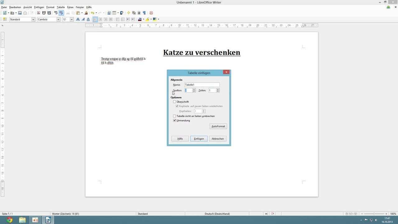 Libre Office 4 Writer Abreisszettel Erstellen Youtube
