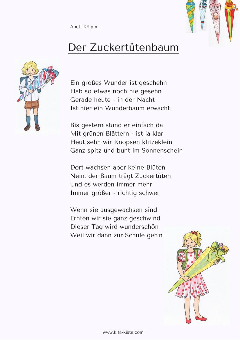 Vorschulgedicht Fur Sommerfest Oder Einschulung Kitakiste Com Gedichte Zum Schulanfang Zuckertutenbaum Spruche Zur Einschulung