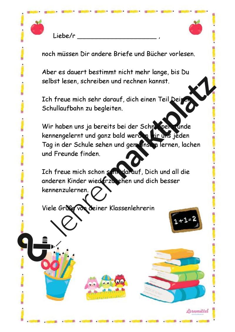 Erster Brief An Schuler Einer Neuen Ersten Klasse Set Aus 4 Varianten Allgemeines Spruche Zum Schulanfang Willkommen In Der Schule Erste Klasse