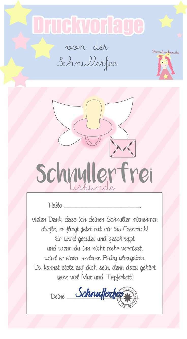 Schnullerfee Brief Vorlage Zum Ausdrucken Schnullerfee Schnuller Briefvorlagen