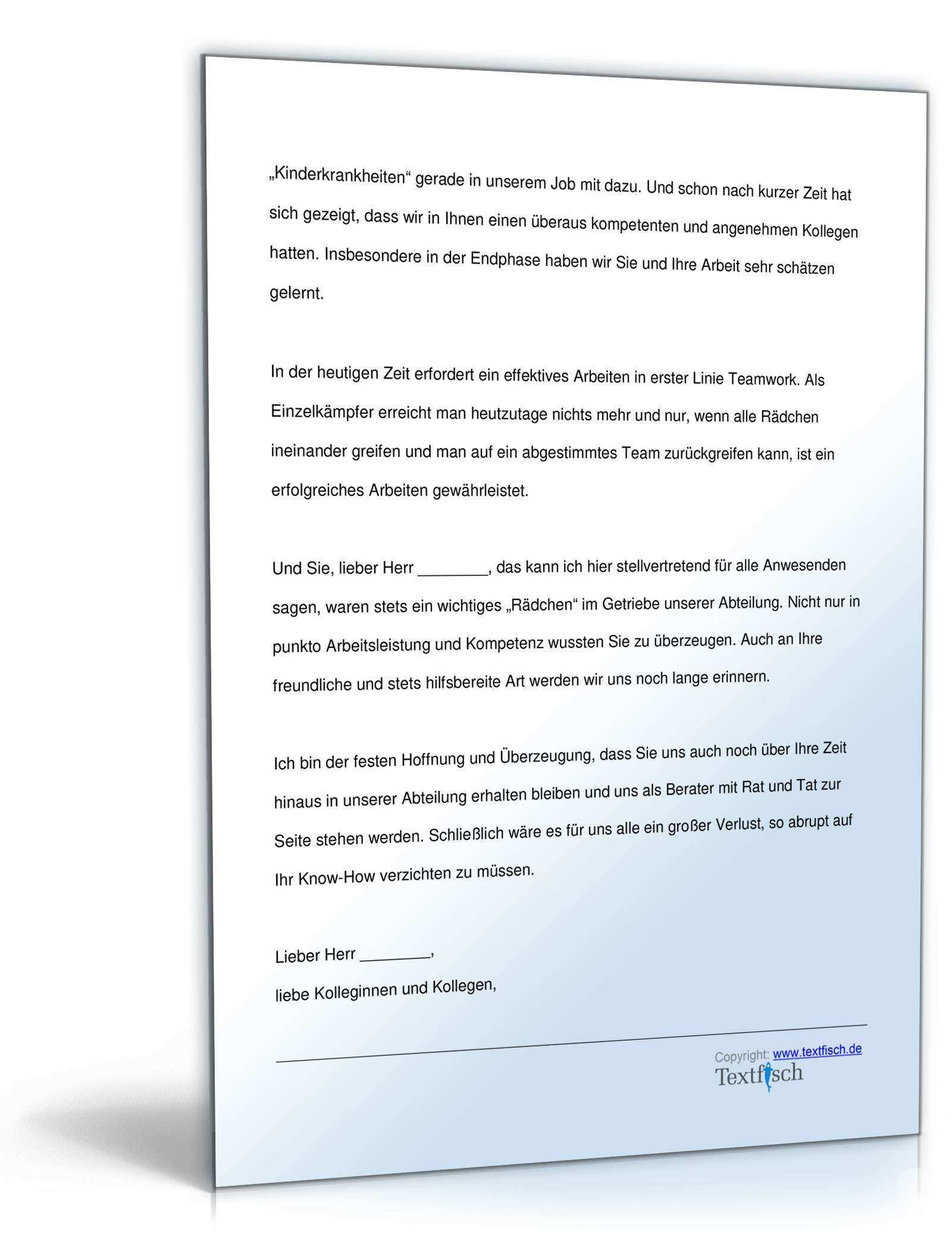 Abschiedsrede Fur Einen Kollegen Musterrede Zum Download