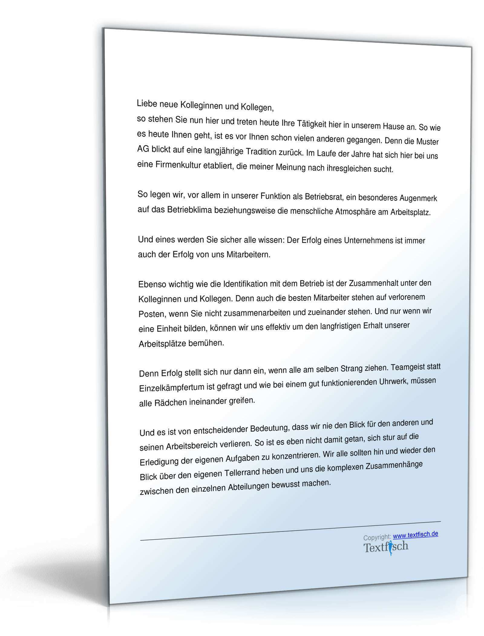 Begrussung Neuer Angestellter Durch Betriebsrat Musterrede Zum Download