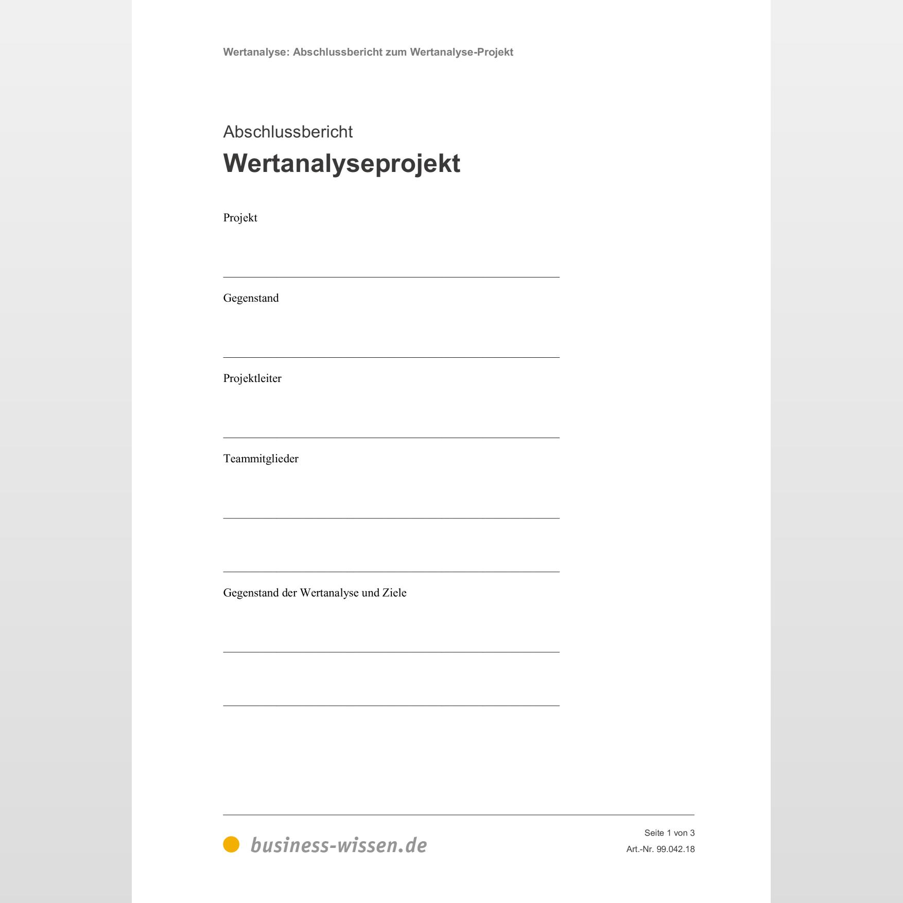 Abschlussbericht Zum Wertanalyse Projekt Vorlage Business Wissen De