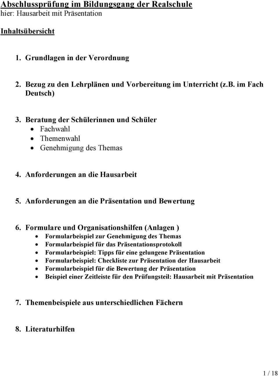 Abschlussprufung Im Bildungsgang Der Realschule Hier Hausarbeit Mit Prasentation Pdf Kostenfreier Download