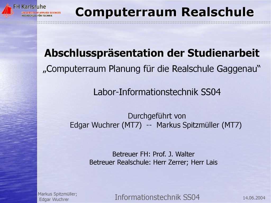 Abschlussprasentation Der Studienarbeit Ppt Herunterladen