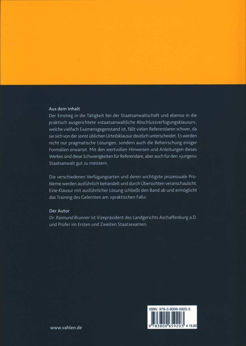 Skript Abschlussverfugung Der Staatsanwaltschaft Brunner