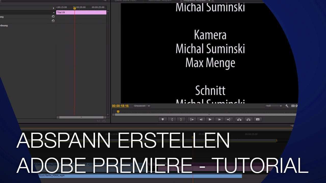 Abspann Erstellen Wie Im Hollywood Film Adobe Premiere Cs6 Tutorial Youtube