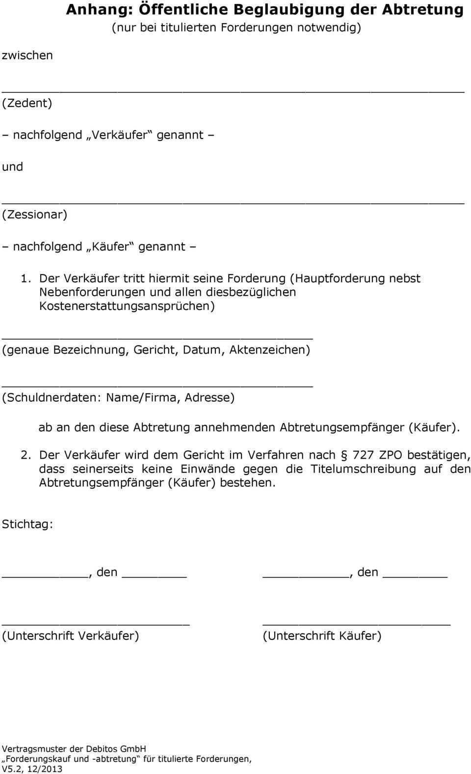 Kauf Und Abtretungsvertrag Fur Titulierte Forderungen Pdf Free Download