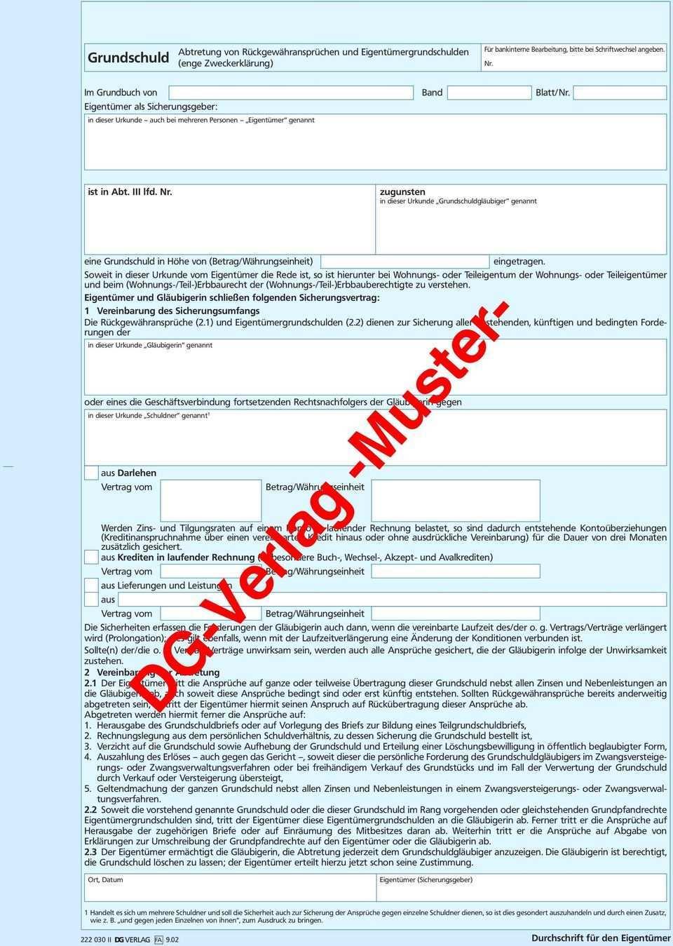 Abtretung Von Ruckgewahranspruchen Und Eigentumergrundschulden Enge Zweckerklarung Im Grundbuch Von Band Blatt Nr Pdf Kostenfreier Download