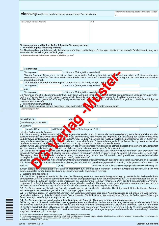 Dg Verlag Muster Abtretung Von Rechten Aus Lebensversicherungen Enge Zweckerklarung 1 Pdf Kostenfreier Download