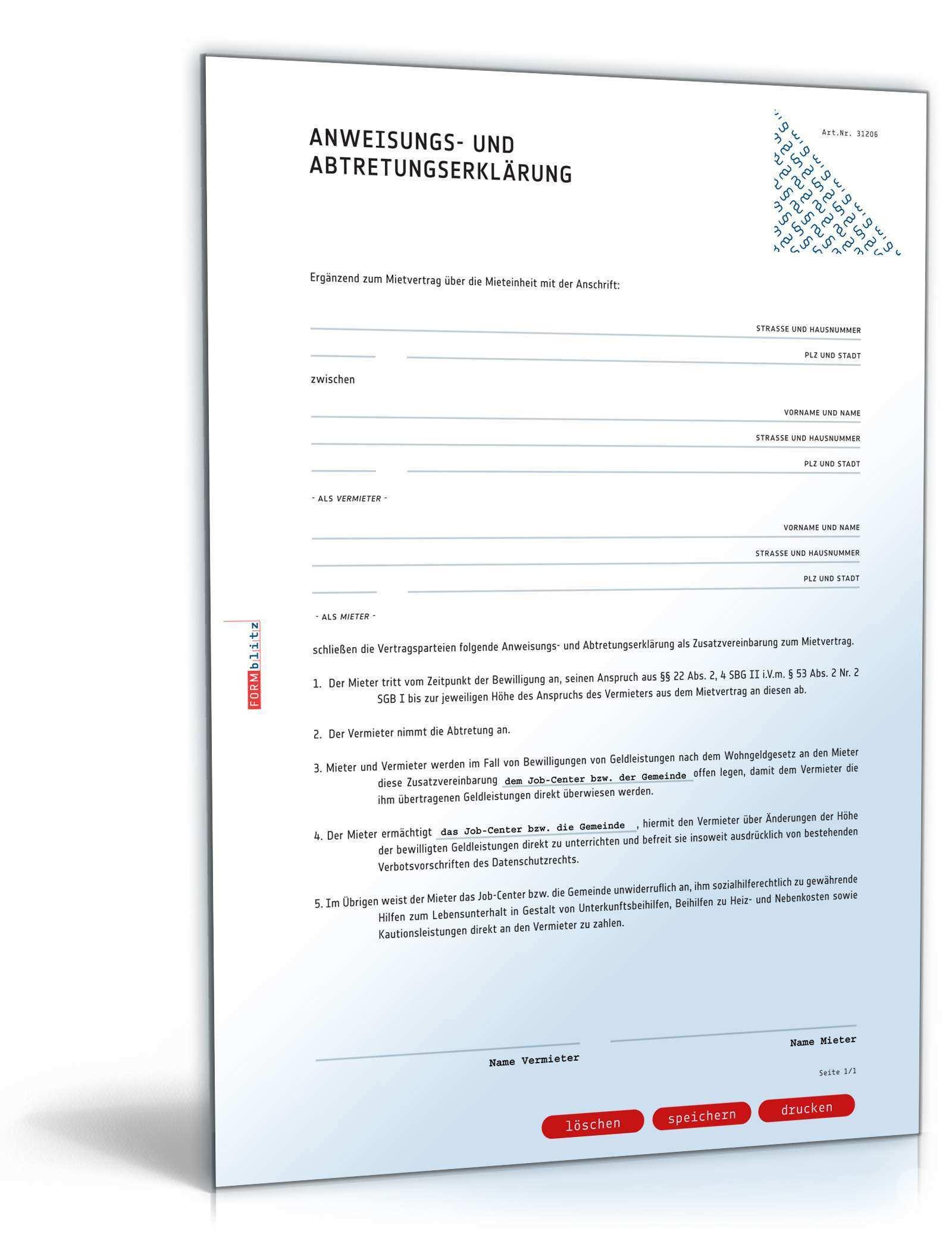 Abtretungserklarung Wohngeld Vorlage Zum Download