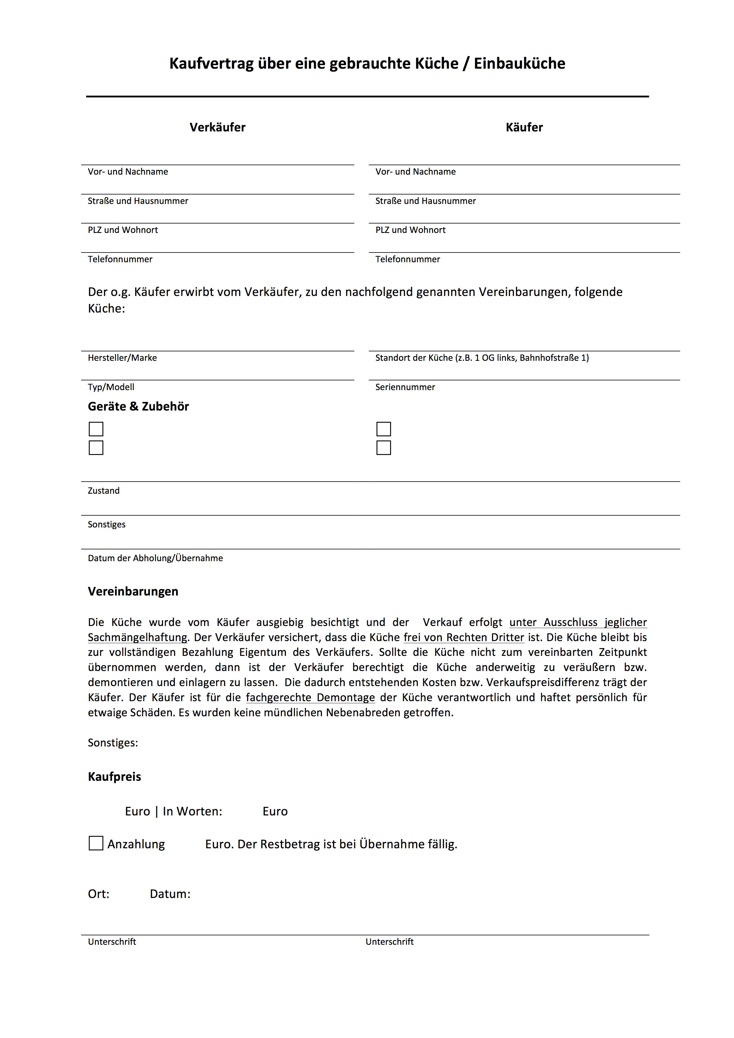 Muster Kaufvetrag Uber Eine Gebrauchte Kuche Einbaukuche Mobeltreff Recklinghausen Kuchen Entrumpelung Haushaltsauflosung