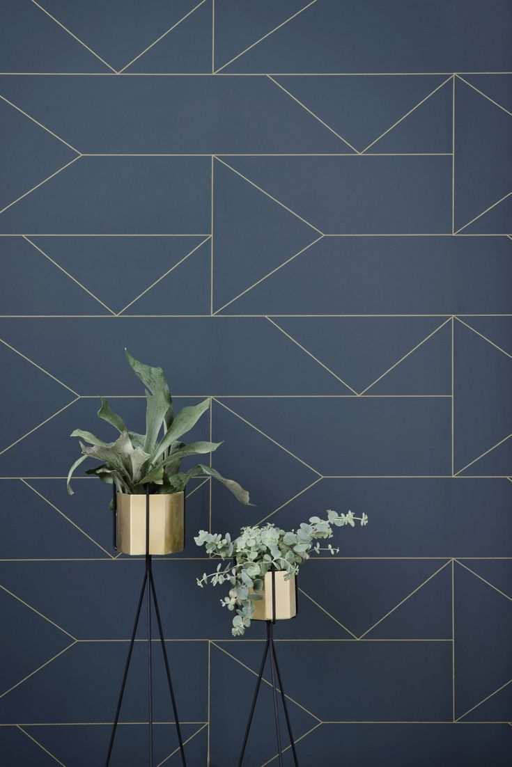 Skandinavische Grafiktapete Lines Wallpaper Blau Von Ferm Living Blaue Tapete Geometrische Tapete Tapeten