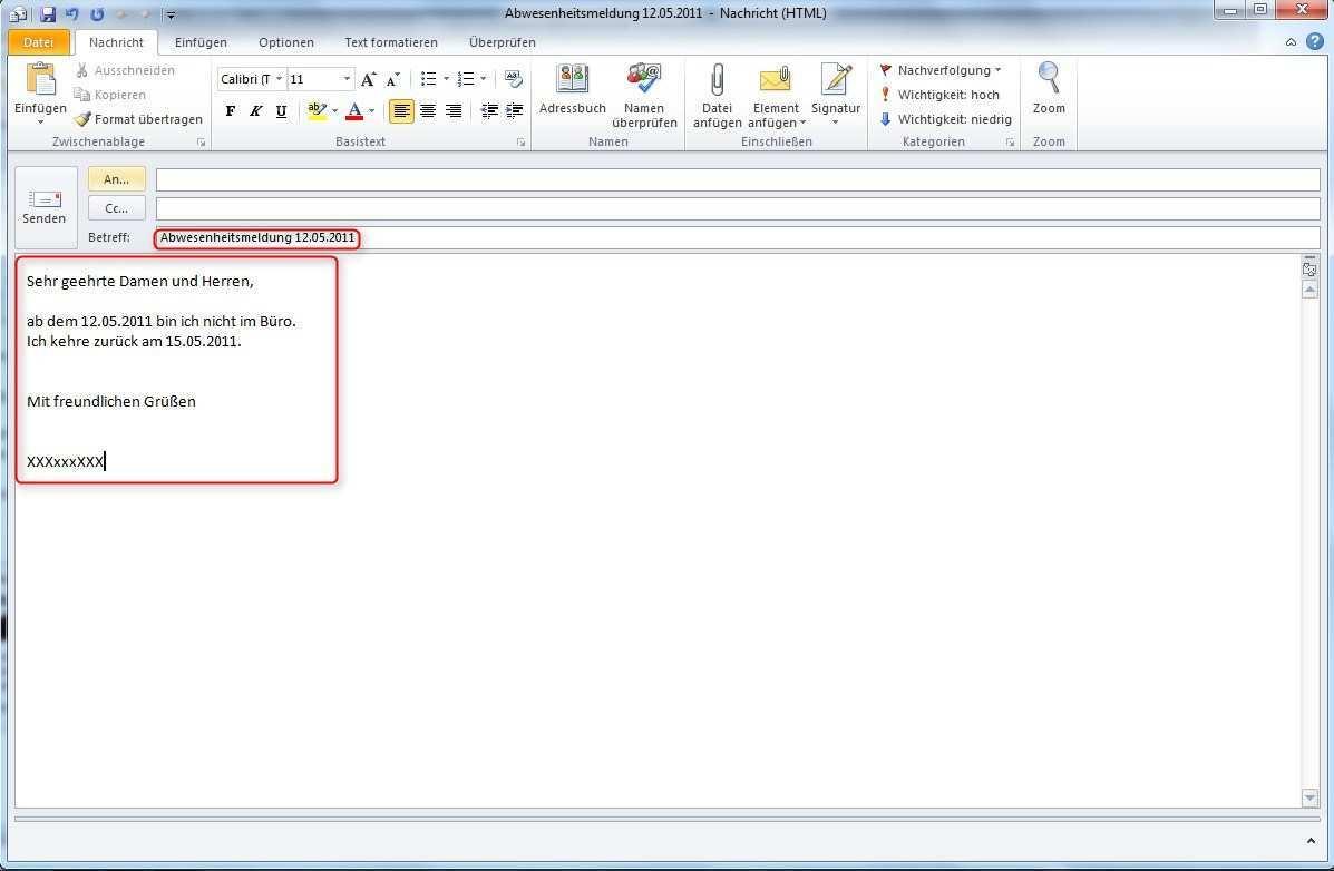 Abwesenheitsnotiz In Outlook Einrichten