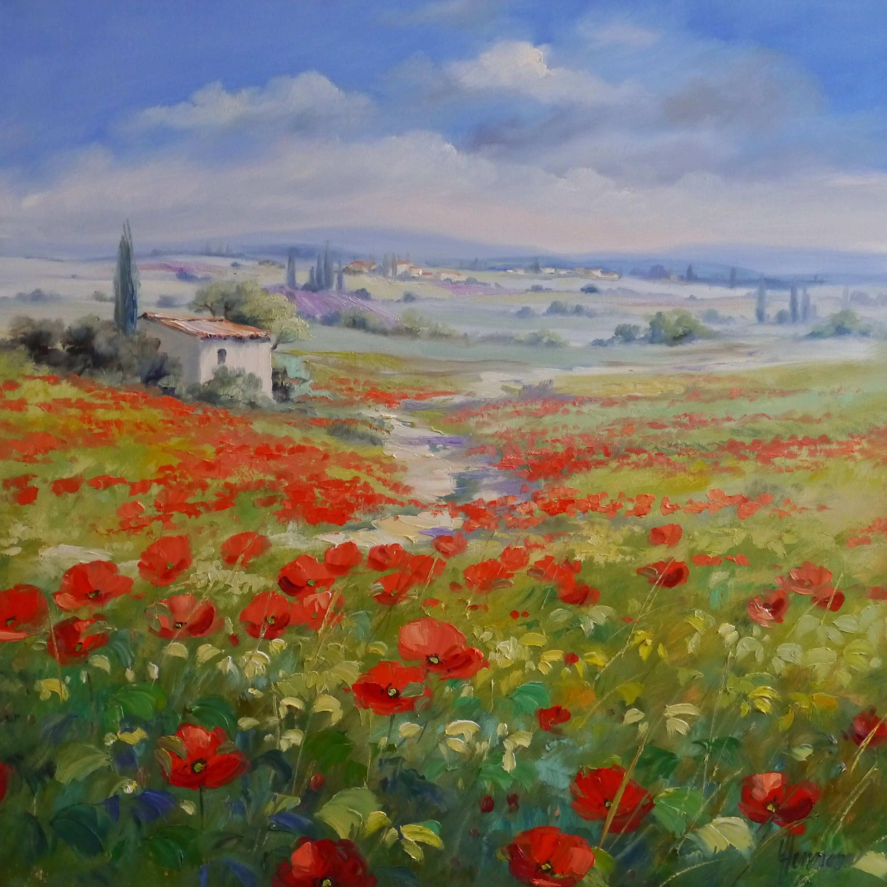 Wiesen Mit Rotem Mohn Findet Man Reichlich In Der Landschaft Der Provence In Frankreich Vor Ort Entstehen F Landschaft Gemalde Landschaften Malen Mohn Malerei
