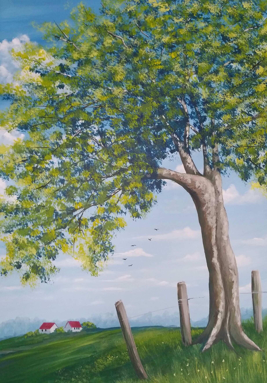 Original Acrylmalerei Auf Leinwand Baum Zaun Haus Baum Malen Malerei Acryl