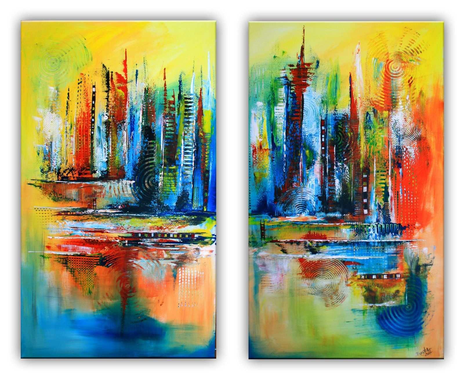 Himmelsleitern Abstrakte Malerei Rot Blau Gelb Zweiteilig Abstrakte Malerei Acrylbilder Abstrakt Abstrakt