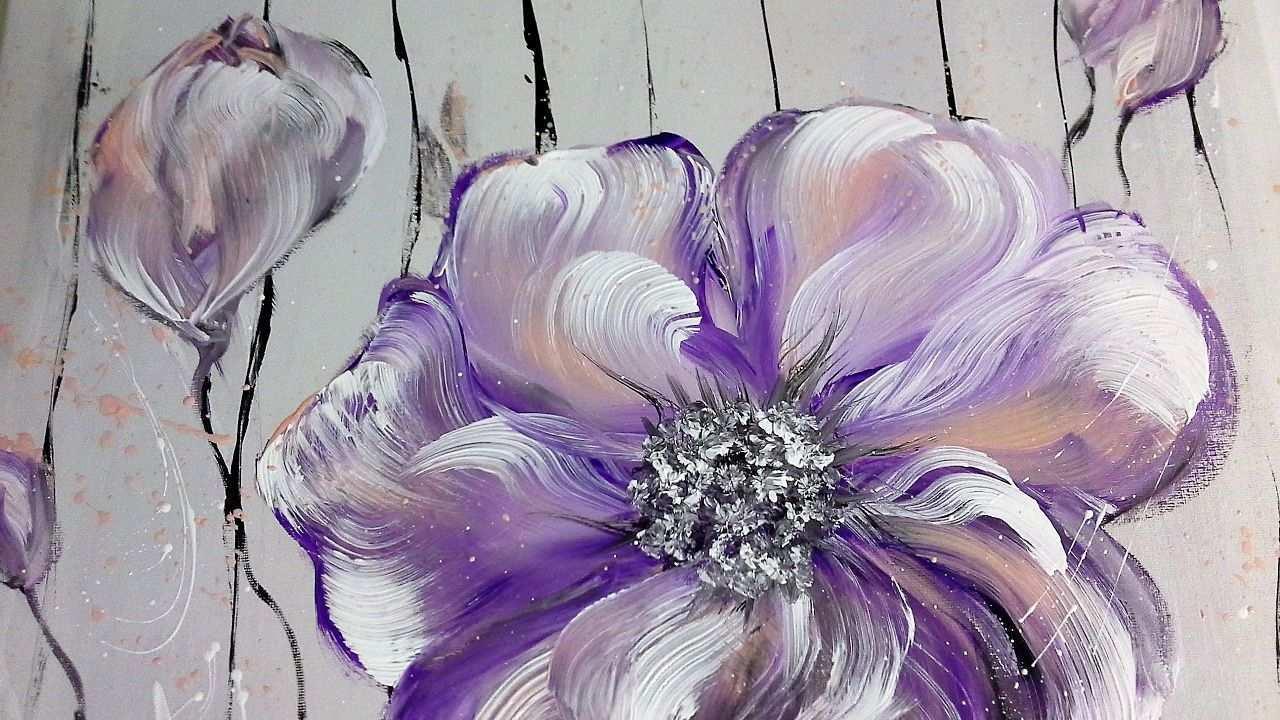 Einfach Malen Blumen Acrylmalerei Easy Painting Flowers Acryli Wie Man Blumen Malt Blumen Malen Blumen Kunst