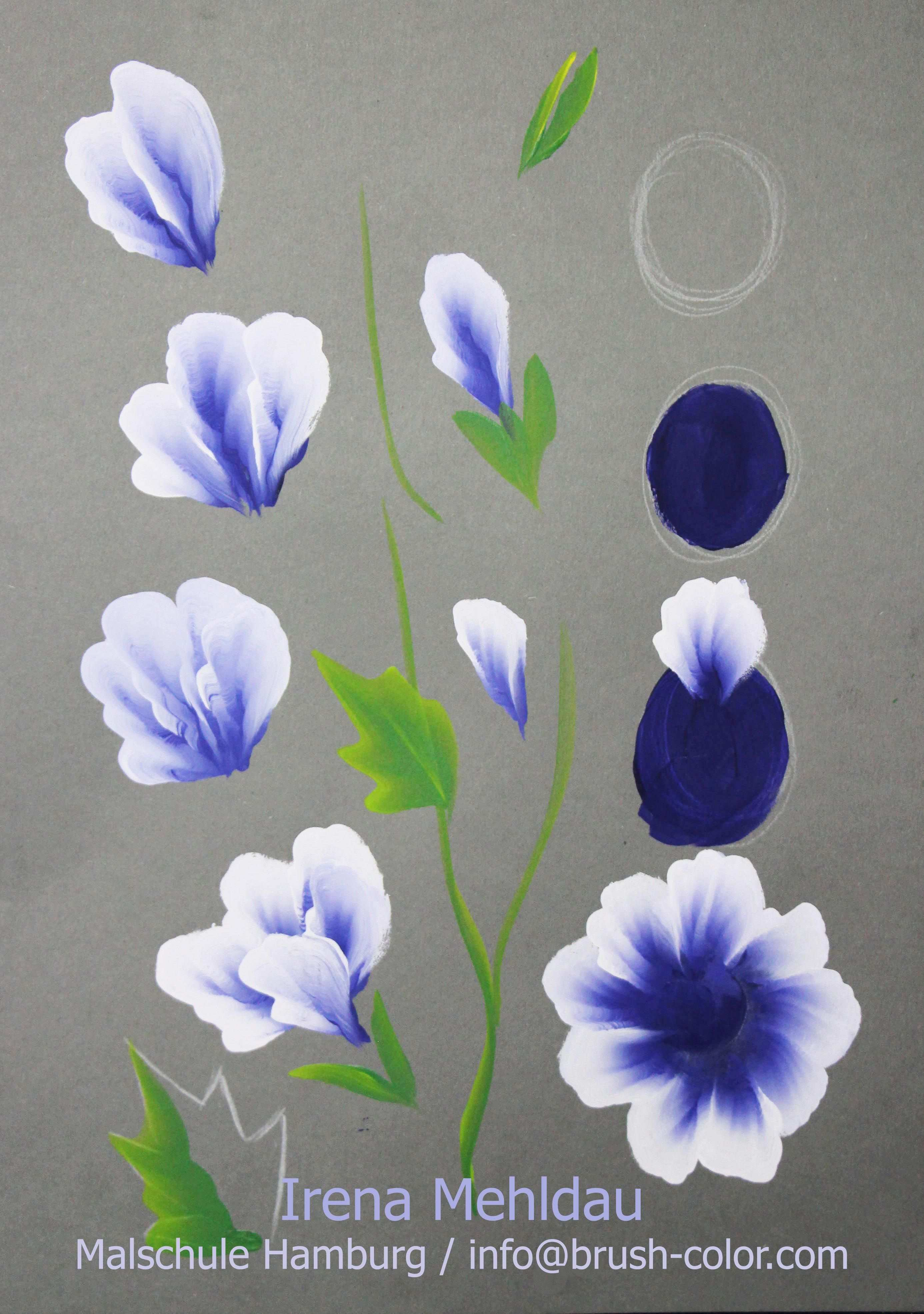 Bluten Malanleitungen One Stroke Vorlagen Blumen Kunst Blumen Malen Blumen Malen Acryl