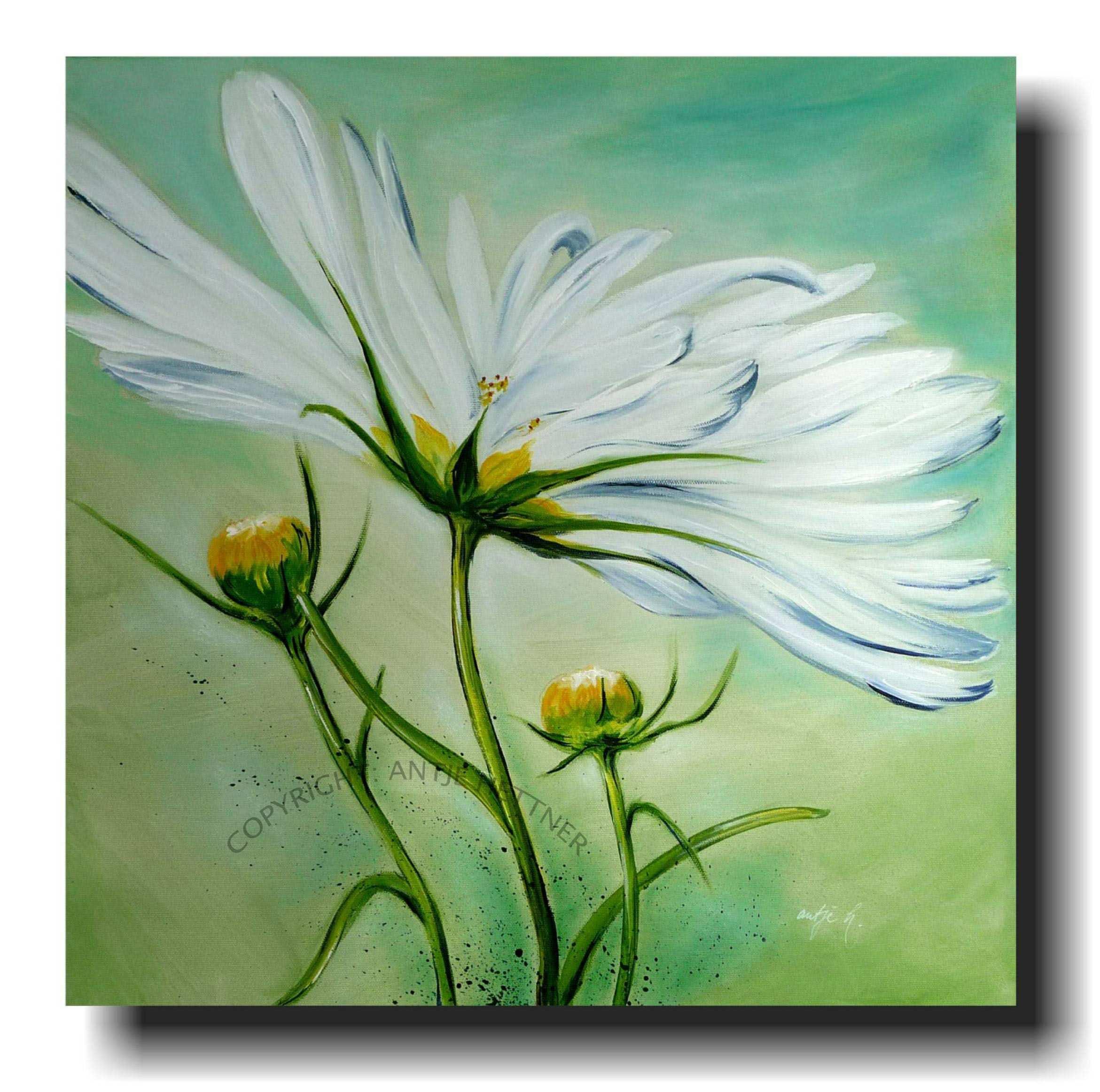 Cosmea Im Wind Acrylic Art On Canvas Acryl Kunst Olgemalde Blumen Blumen Malen Acryl