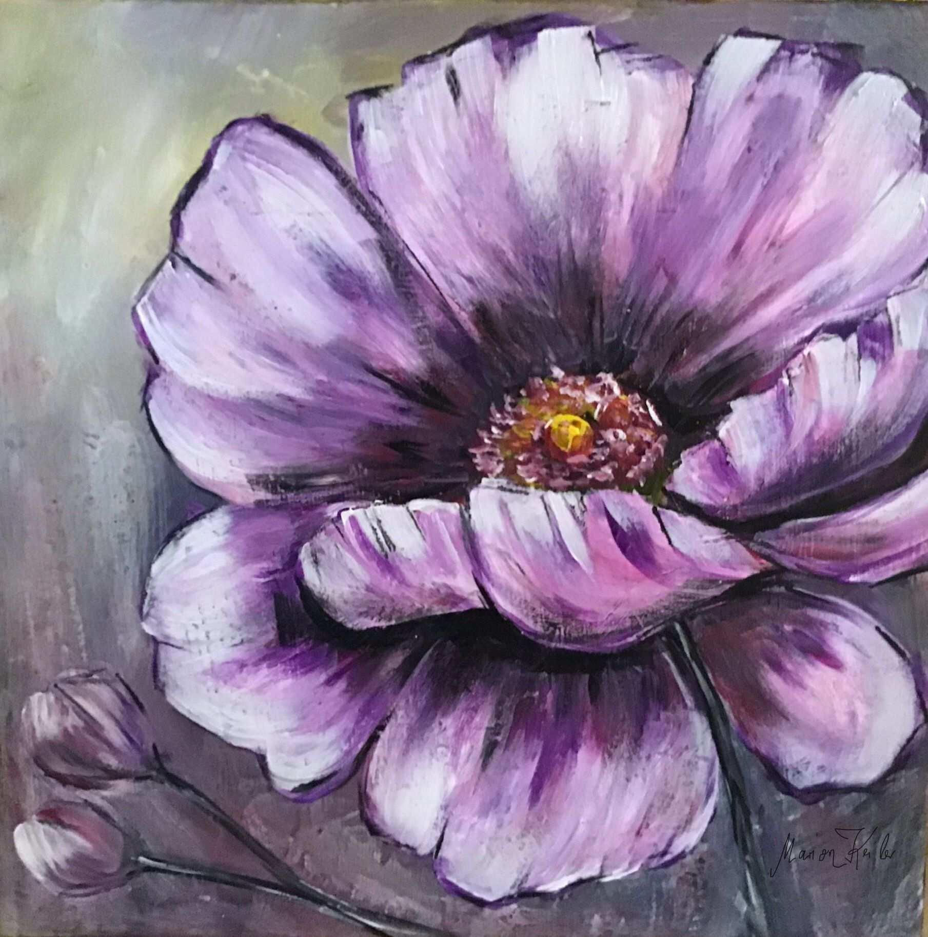 Acrylmalerei Blume 40x40 Auf Keilrahmen Orginal Von M K Acrylmalerei Blumen Blumen Malen Acrylmalerei