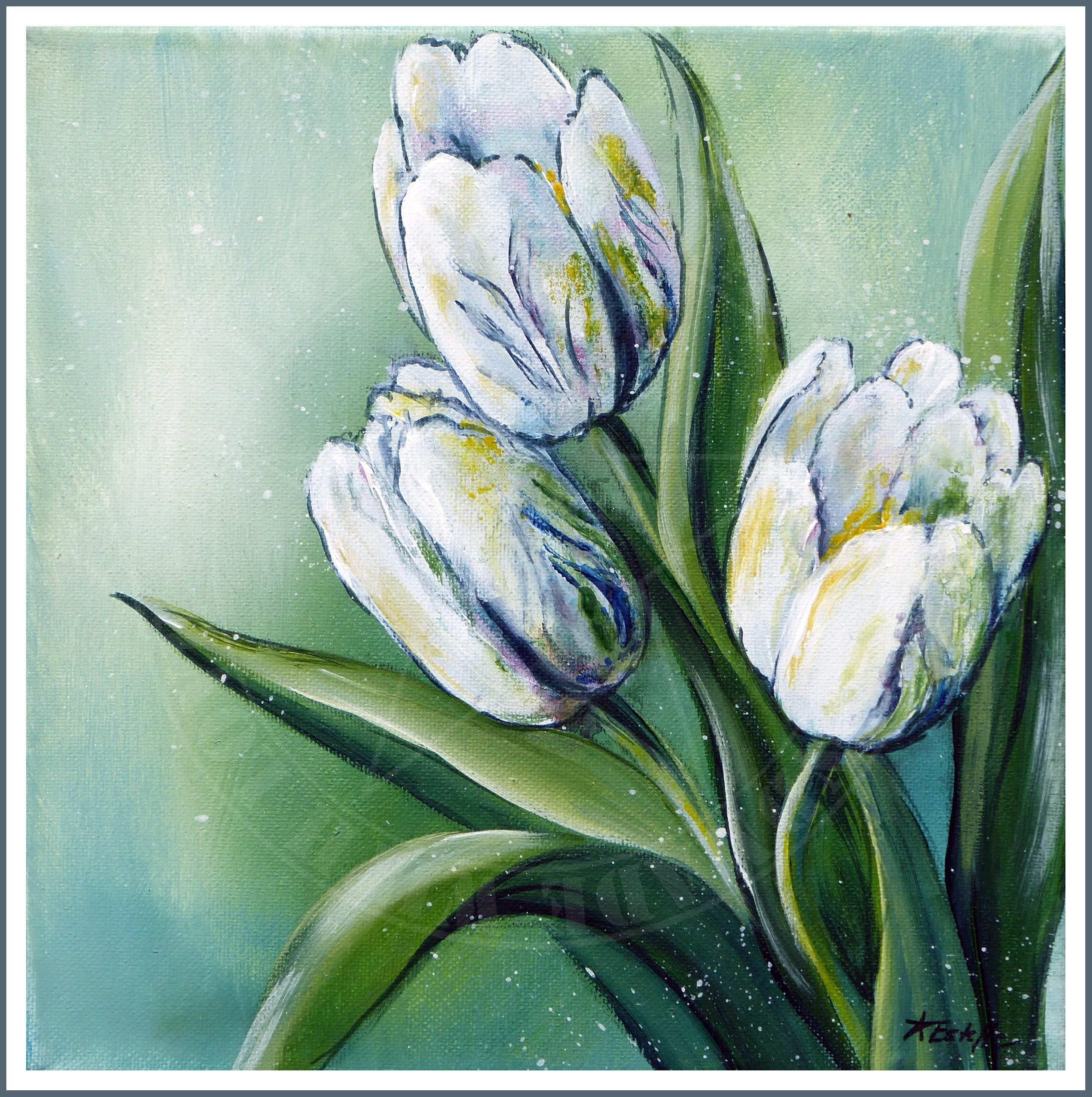 Tulpen Acrylic Art On Canvas Tulpenmalerei Acryl Kunst Acrylmalerei Blumen