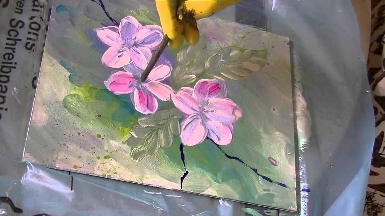 Acrylmalerei Fur Anfanger Apfelbluten Acrylic Painting For Beginners Apple Blossoms Acrylmalerei Malerei Acrylmalerei Fur Anfanger