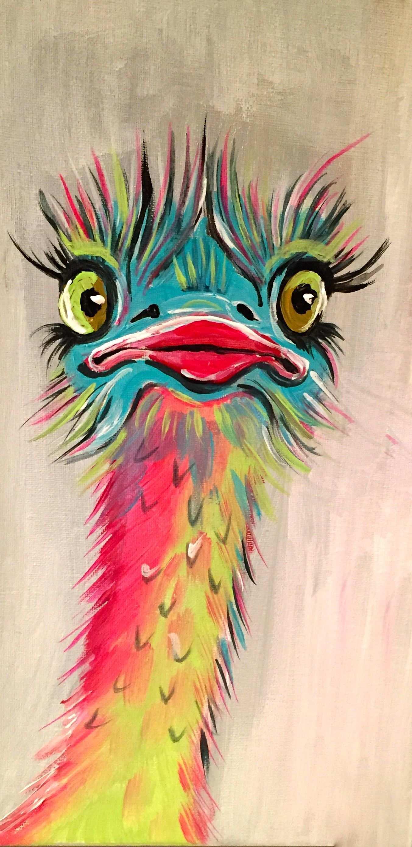 Claudia Weise Vogelstrauss Bunt Acryl 15 X 30zur Zeit Nicht Verfugbar Kunst Ideen Gemalde Auf Leinwand Leinwandgemalde
