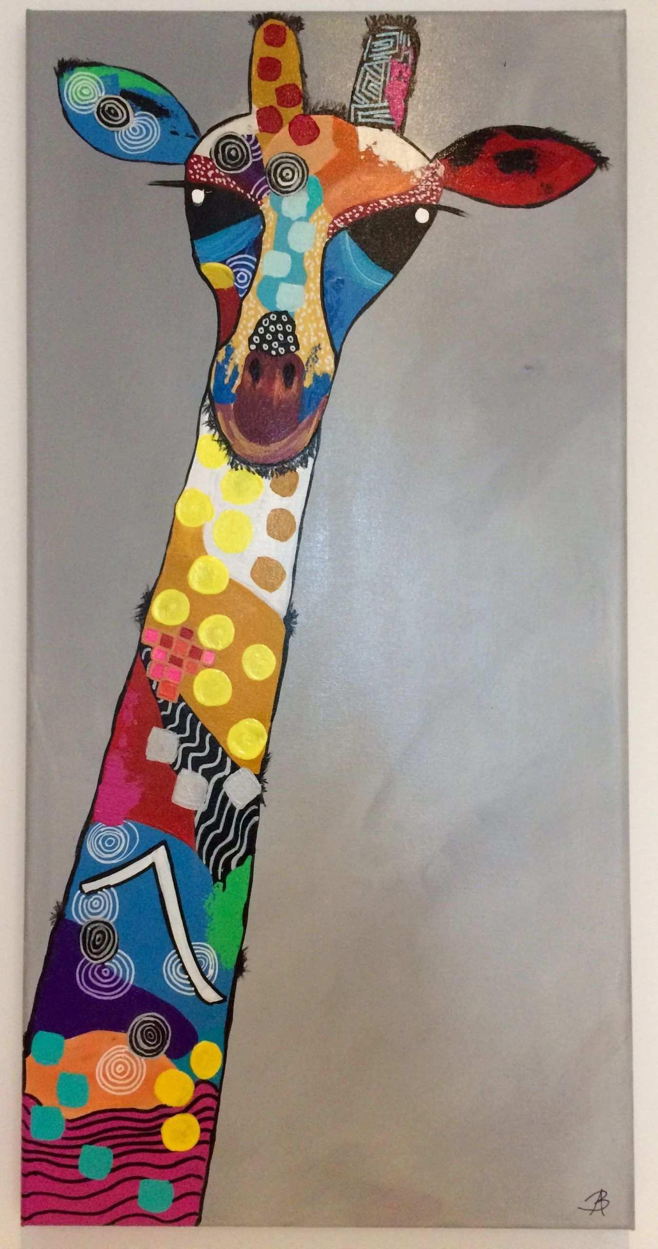 Girafa Acrylmalerei Mit Gemischter Technik Von Bego Ayala In 2020 Malerei Acrylmalerei Kunstquilt