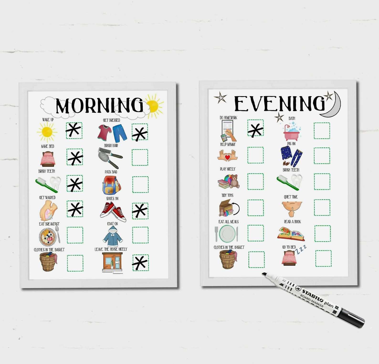 Morning Routine Evening Routine Kids Routine Chart Etsy Morning Routine Kids Kids Routine Chart Kids Schedule