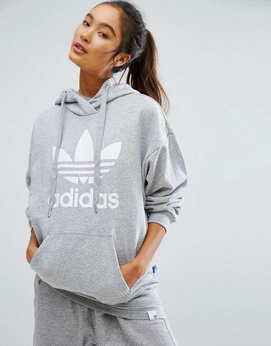 Adidas Originals Grauer Kapuzenpullover Mit Dreiblattrigem Kleeblatt Logo Grau Jetzt Bestellen Unter Adidas Pullover Damen Adidas Damenschuhe Adidas Anzug