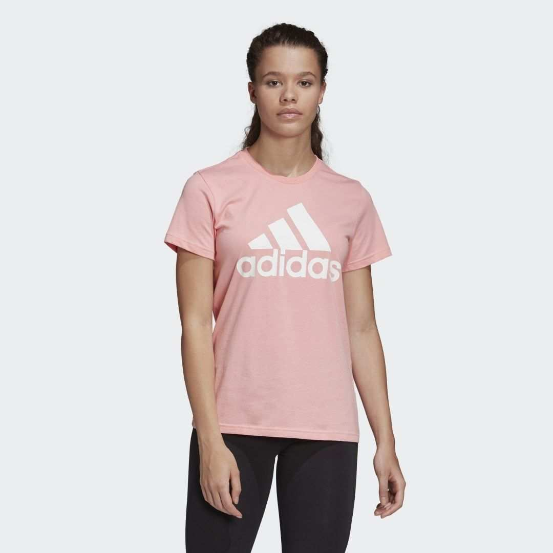 Must Haves Badge Of Sport Tee Must Haves Badge Of Sport Tee Glory Pink Womens Badge Celebritysty In 2020 T Shirts For Women Adidas Shirt Celebrity Style Casual