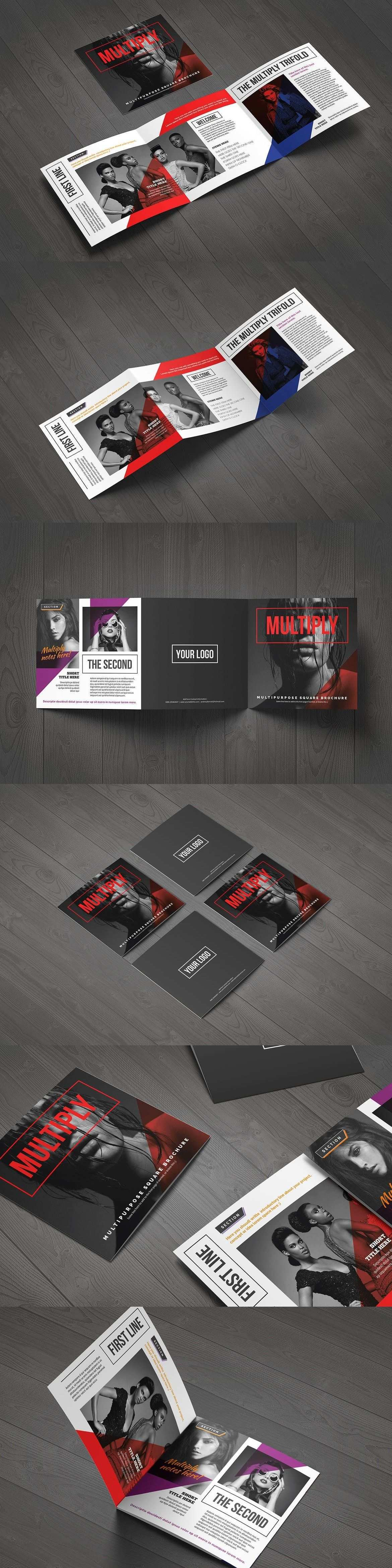 Multiply Square Trifold Template Adobe Illustrator Style Digital Download Unlimited Items On Envato Elements Trifold Templates Square Brochures Templates