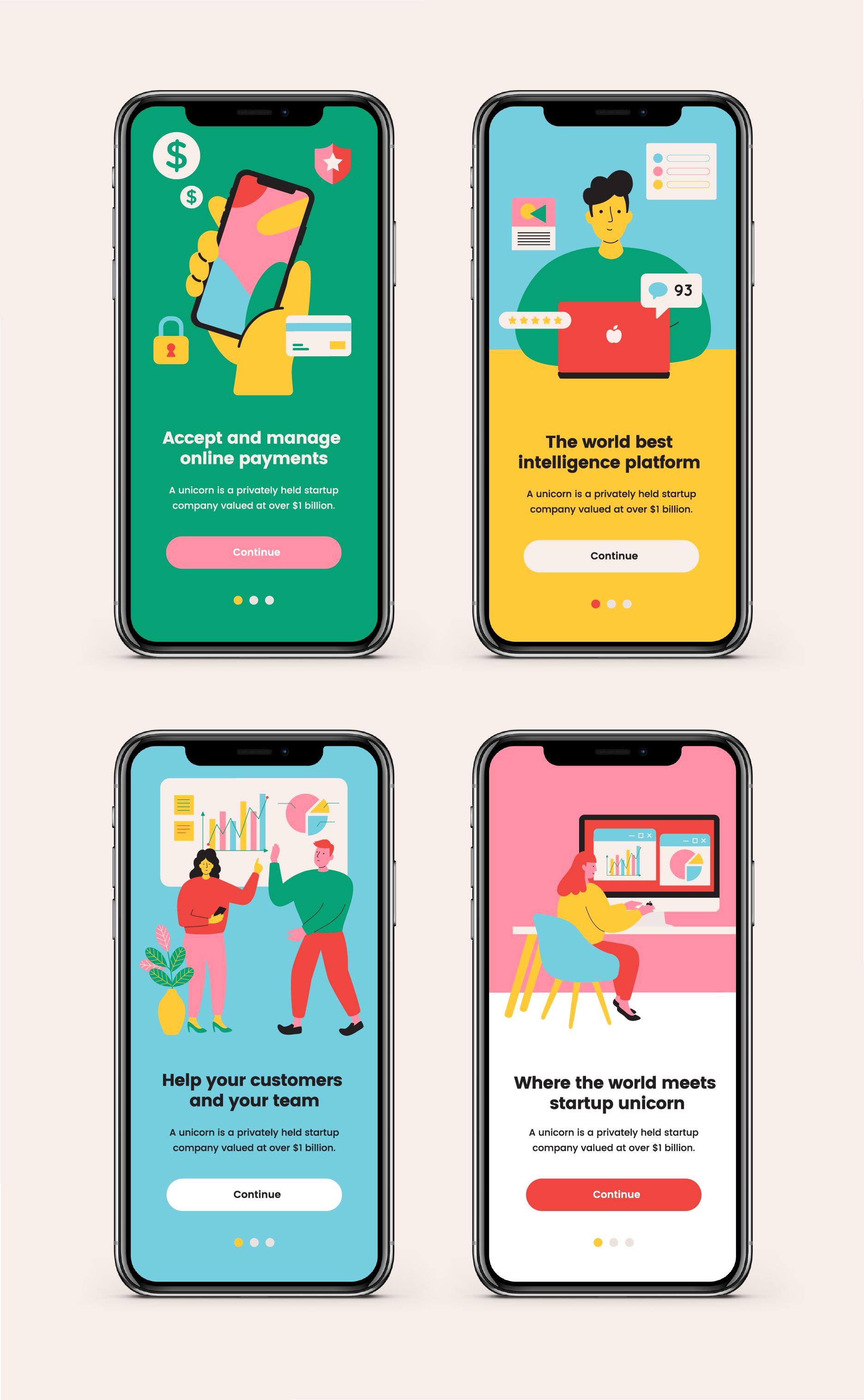 Unicorn Startup Illustration Pack In 2020 Mobile App Design Web Design Mobile App