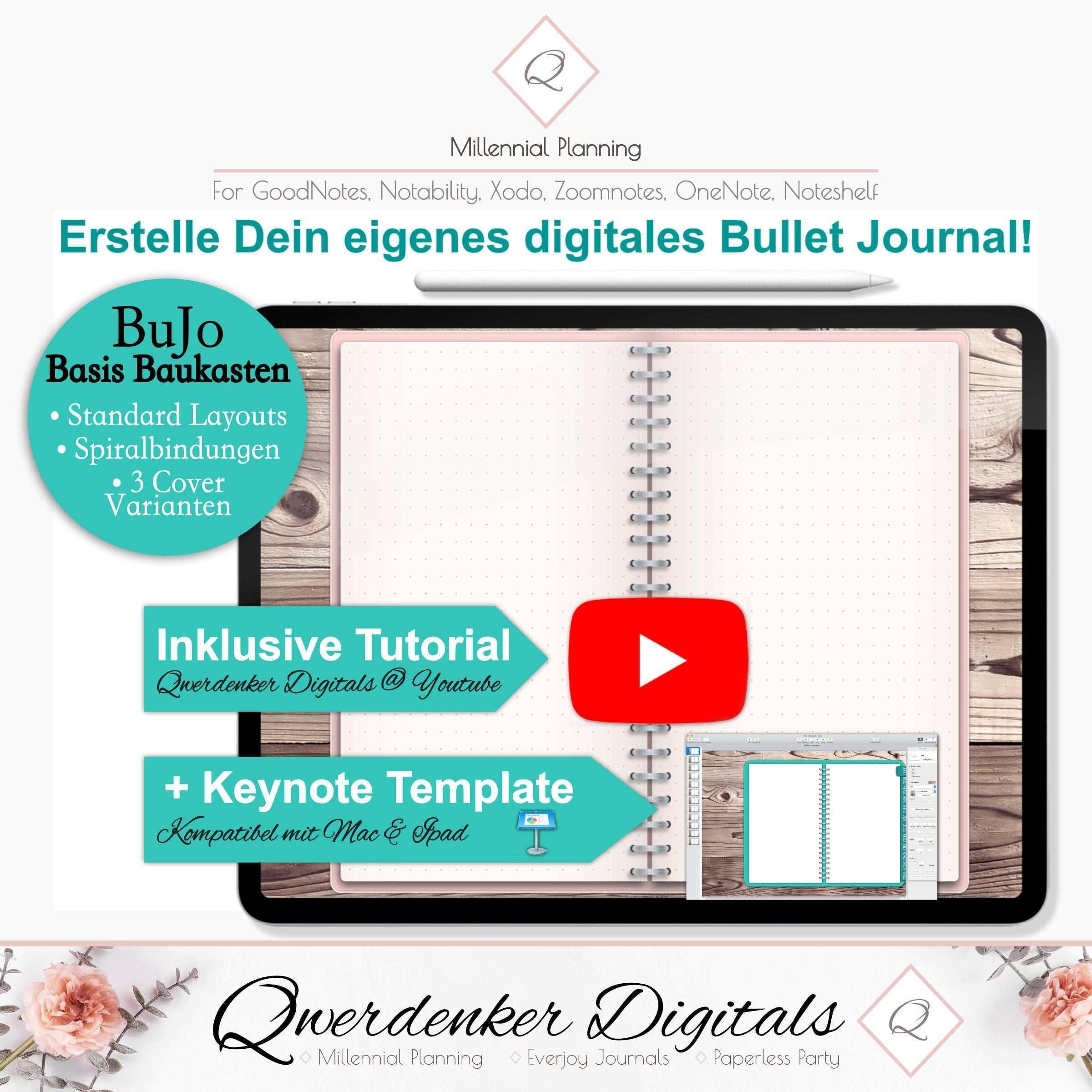 Digitales Bullet Journal Baukasten Basis Paket Cover Etsy Keynote Template Bullet Journal Keynote